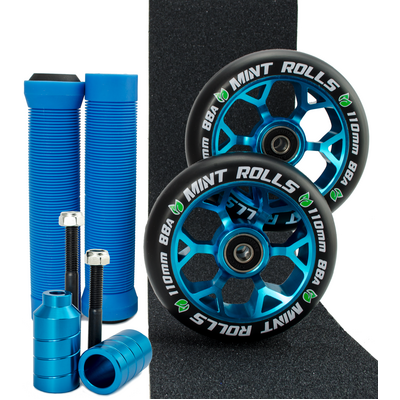 Mint Rolls 110mm Wheels Grips Pegs Tape Pack Blue