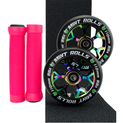 Mint Rolls 110mm Wheels Grips & Tape Pack Oil Slick/Pink