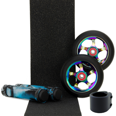 Metal Core 100mm Oil Slick Wheels + Black Clamp + Black White Aqua Grips + Tape Pack