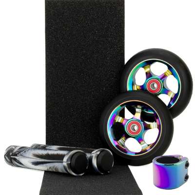 Scooter Crew Metal Core 100mm Oil Slick Wheels and Clamp + Black White Grips + Tape Pack