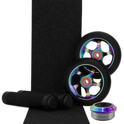 Metal Core 110mm NeoChrome Wheels + Black Grips + Headset  Pack