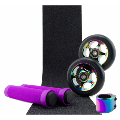 Scooter Crew Metal Core 110mm Oil Slick Wheels and Clamp + Purple Grips + Tape Pack