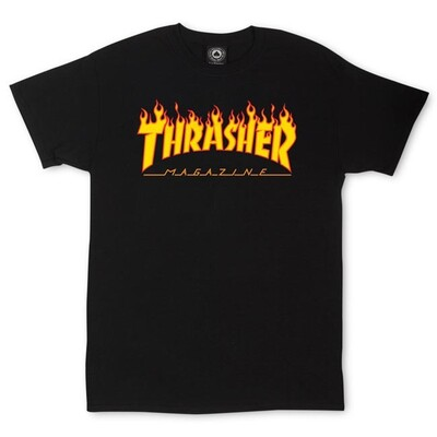 Genuine Thrasher Flame Logo T Shirt - Black